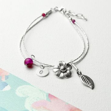 Personalised ForgetMeNot F/ship Bracelet & Indian Stones